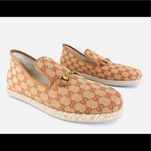GUCCI Fria Monogrammed Canvas GG Horsebit Loafers